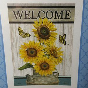 Outdoor Garden Flag Double Sided Welcome Sunflower